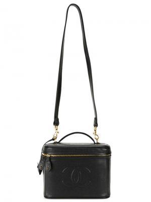 Чемоданчик для косметики с тисненым логотипом Chanel Vintage. Цвет: чёрный