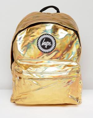 Hype Рюкзак голографического золотистого цвета. Цвет: золотой
