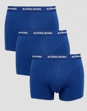 Bjorn Borg Набор из 3 пар темно-синих боксеров-брифов. Цвет: темно-синий