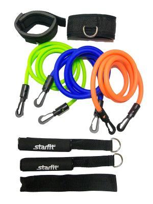 Комплект съемных эспандеров STARFIT ES-606 с ручками, расширенный. Цвет: синий