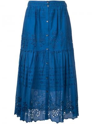 Плиссированная юбка с вышивкой Sea. Цвет: синий