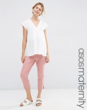 ASOS Maternity Льняные укороченные брюки для беременных. Цвет: розовый