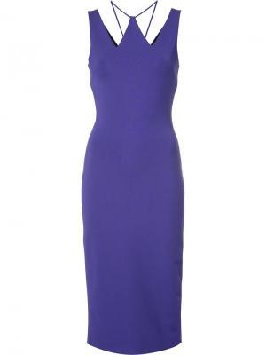 Платье с вырезными деталями David Koma. Цвет: розовый и фиолетовый