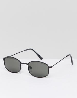 Jeepers Peepers Черные солнцезащитные очки в квадратной оправе. Цвет: серебряный