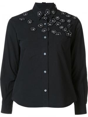 Рубашка с цветочной вышивкой Jimi Roos. Цвет: чёрный