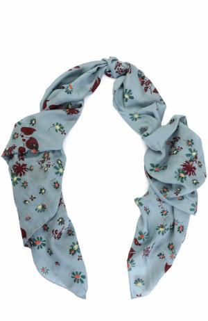 Шелковая шаль с принтом Valentino. Цвет: светло-голубой