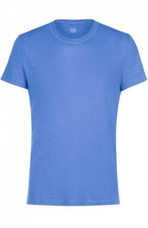 Льняная футболка с круглым вырезом 120% Lino. Цвет: синий
