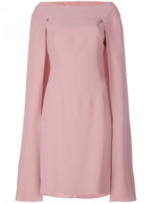 Многослойное платье-кейп Alberta Ferretti. Цвет: телесный