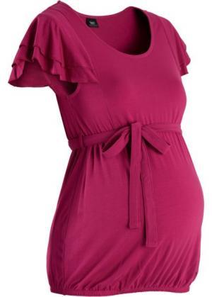Мода для беременных: праздничная футболка (красно-ягодный) bonprix. Цвет: красно-ягодный