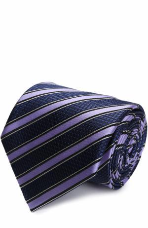 Шелковый галстук в полоску Ermenegildo Zegna. Цвет: лиловый