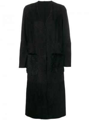 Пальто с карманами из кроличьего меха Salvatore Santoro. Цвет: чёрный