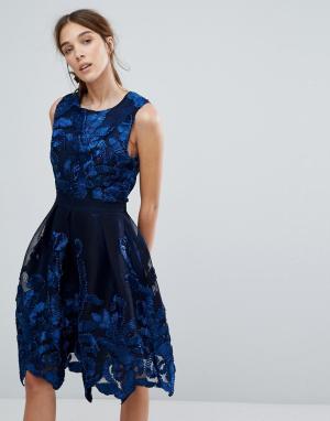 Zibi London Платье для выпускного с отделкой. Цвет: темно-синий