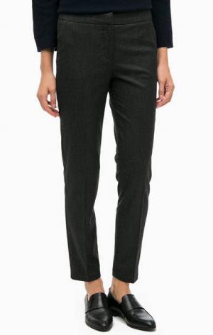 Черные укороченные брюки в полоску Stefanel. Цвет: черный
