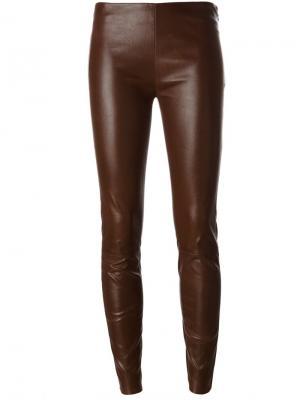Кожаные брюки скинни Jitrois. Цвет: коричневый