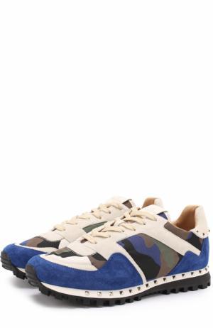 Комбинированные кроссовки  Garavani Rockrunner с камуфляжным принтом Valentino. Цвет: разноцветный