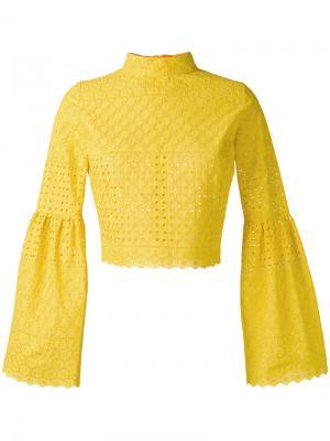 Блузка с рукавами-колокол Daizy Shely. Цвет: жёлтый и оранжевый