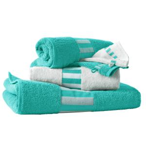 Комплект для ванной LA REDOUTE Interieurs. Цвет: зелено-голубой/белый