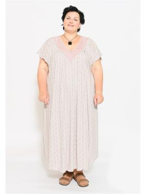 Ночная сорочка EVGENIA STYLE. Цвет: темно-бежевый, розовый