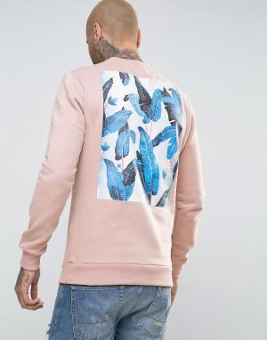 Friend or Faux Свитер с принтом на спине Reefs. Цвет: розовый