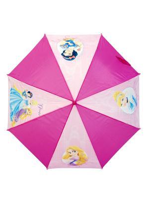 Зонт-трость Disney Princess 46 см, автоматический (открывается автом/закрывается вручную). Цвет: голубой, бледно-розовый, фиолетовый