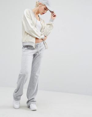 Juicy Couture Велюровые джоггеры Bling. Цвет: серебряный
