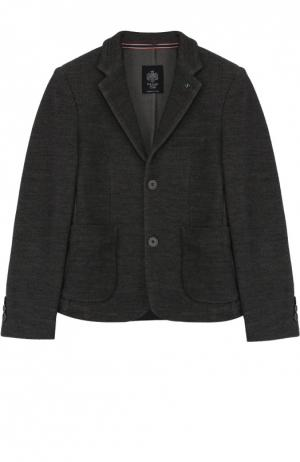 Шерстяной однобортный пиджак Dal Lago. Цвет: серый