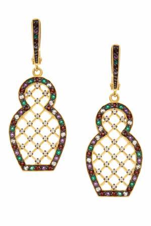 Серебряные серьги «Матрешка» с зелеными агатами Axenoff Jewellery. Цвет: золотой
