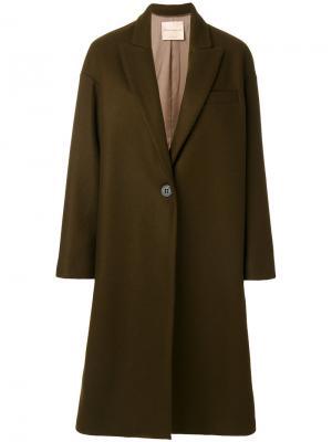 Пальто с лацканами и V-образным вырезом Erika Cavallini. Цвет: коричневый