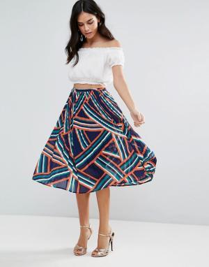 Liquorish Плиссированная юбка с принтом. Цвет: мульти