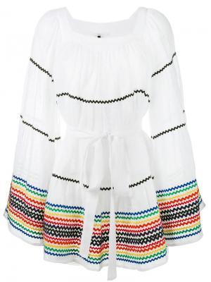 Платье Ric Rac в крестьянском стиле Lisa Marie Fernandez. Цвет: белый