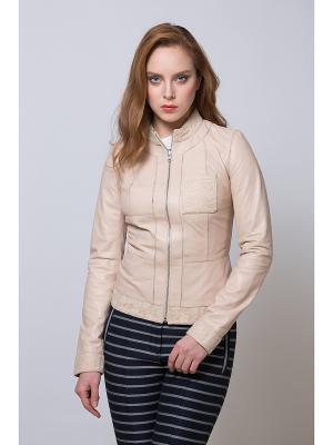 Кожаная куртка SUSSEX. Цвет: бежевый