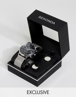 Sekonda Часы с серебристым сетчатым браслетом и запонки в подарочном наборе Se. Цвет: серебряный