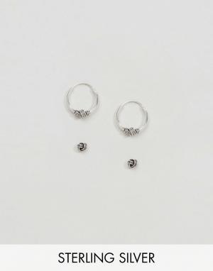 Kingsley Ryan Набор серебряных сережек-гвоздиков и колец. Цвет: серебряный