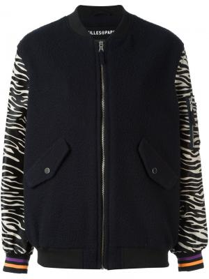 Куртка бомбер с рукавами узором зебры Filles A Papa. Цвет: синий