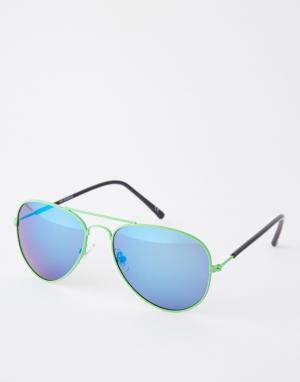 Trip Солнцезащитные очки-авиаторы с зеркальными линзами. Цвет: синий