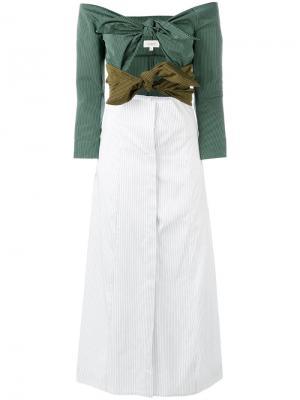 Платье с открытыми плечами и узлом Isa Arfen. Цвет: зелёный