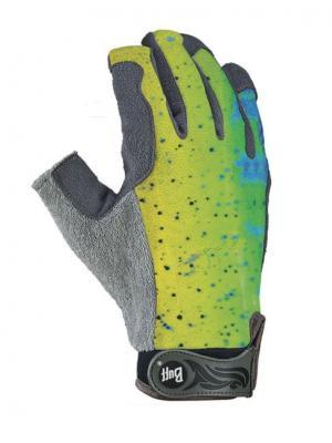 Перчатки рыболовные BUFF Pro Series Fighting Work Gloves Dorado (желтый/синий/зеленый). Цвет: светло-зеленый, светло-желтый, серый