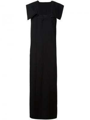 Платье с геометрическими панелями на плечах Yohji Yamamoto. Цвет: чёрный