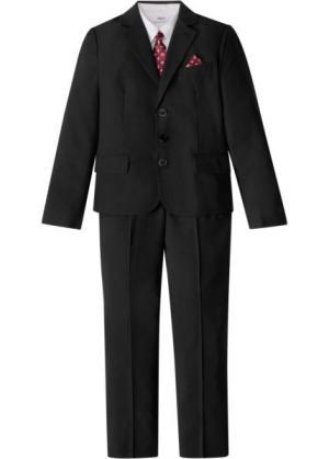 Костюм + рубашка галстук (4 изд.) (черный/белый) bonprix. Цвет: черный/белый