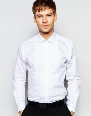 Number Eight Savile Row Вечерняя рубашка скинни с нагрудной вставкой. Цвет: белый