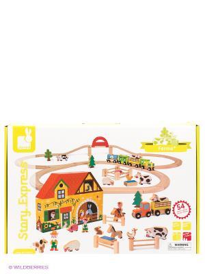 Игровой набор Ферма (23 игрушки, поезд, ж/д 25 элементов) Janod. Цвет: желтый