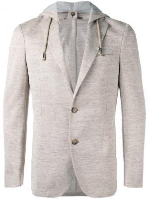 Пиджак с капюшоном Eleventy. Цвет: телесный