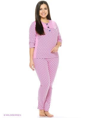 Утепленный комплект домашней одежды HomeLike. Цвет: розовый