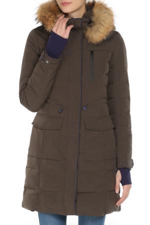 Полуприлегающее пальто со съемным капюшоном SNOWIMAGE. Цвет: 2549 коричневый