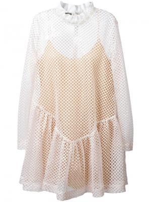 Сетчатое платье Jourden. Цвет: розовый и фиолетовый