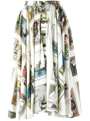 Расклешенная юбка с принтом Olympia Le-Tan. Цвет: телесный