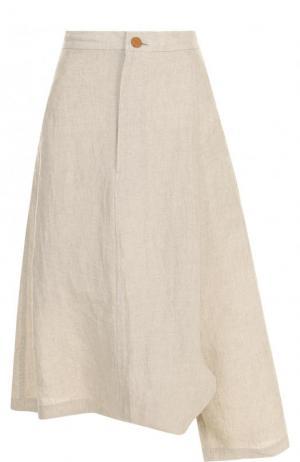 Укороченные льняные брюки Yohji Yamamoto. Цвет: бежевый