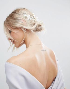 ASOS Украшение для волос с цветами BRIDAL. Цвет: белый