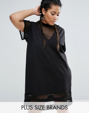 One Three Цельнокройное платье 2 в 1 с сетчатыми вставками. Цвет: черный