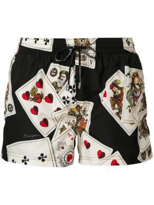 Playing Cards print swimming trunks Dolce & Gabbana. Цвет: чёрный